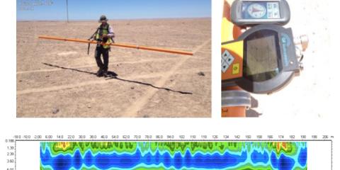 Ensayos de resistividad mediante método electromagnético en zonas desérticas. Foto: Desierto de Atacama, Chile.